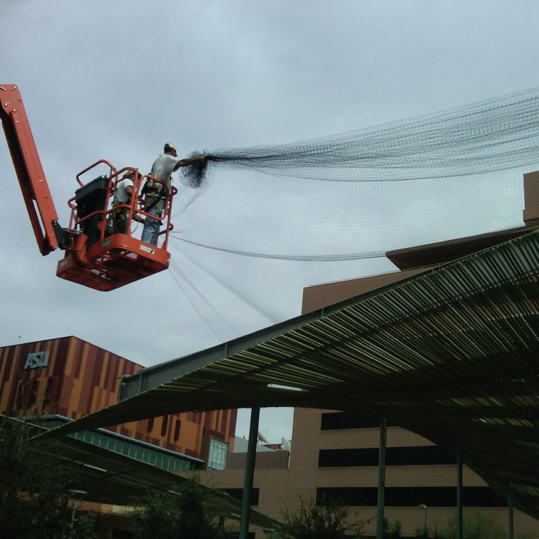Installing net over large commercial solar panels, AZ